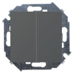 Выключатель двухклавишный 16А 250В винтовой зажим Simon 15, графит