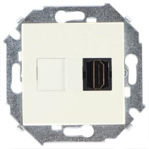 Розетка HDMI аудио/видео v1.4 тип А Simon 15, слоновая кость