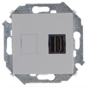 Розетка HDMI аудио/видео v1.4 тип А Simon 15, алюминий