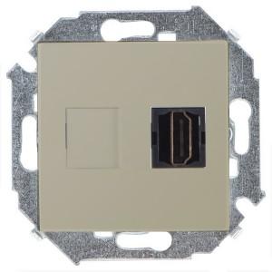 Розетка HDMI аудио/видео v1.4 тип А Simon 15, шампань