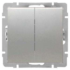 Выключатель 2-клавишный 16 A  250 B Экопласт LK80, серебристый металлик