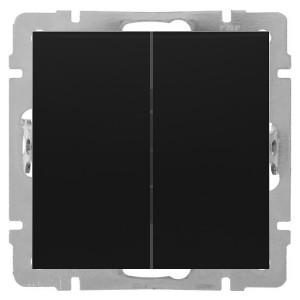 Выключатель 2-клавишный 16 A  250 B Экопласт LK80, черный бархат