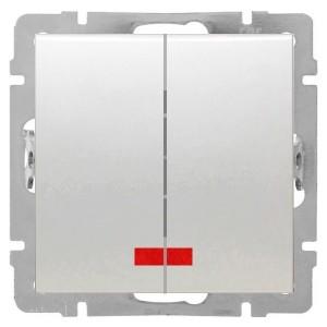 Выключатель 2-клавишный с индикаторами 16 A  250 B Экопласт LK80, белый
