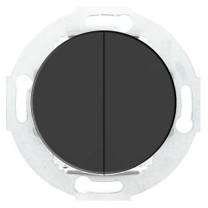Выключатель двухклавишный 10 A 250 B Экопласт Vintage, черный