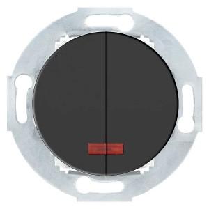 Выключатель двухклавишный с индикатором 10 A  250 B Экопласт Vintage, черный