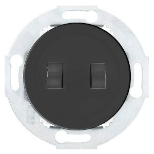 Выключатель 2-рычажковый 10 A 250 B Экопласт Vintage, черный