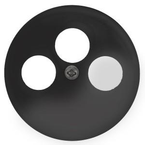 Накладка для розетки TV+FM+SAT 3 отверстия Экопласт Vintage, черный