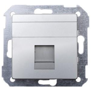 Адаптер со шторками на 1 коннектор UTP (RJ45) FTP (RJ45) RJ12 AMP Simon 82, алюминий