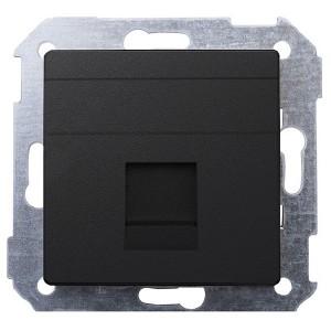 Адаптер со шторками на 1 коннектор UTP (RJ45) FTP (RJ45) RJ12 AMP Simon 82, графит