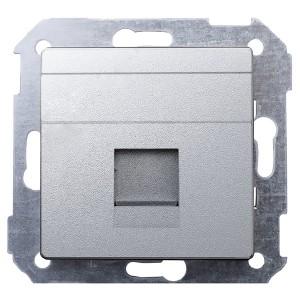 Адаптер со шторками на 1 коннектор UTP (RJ45) FTP (RJ45) RJ12 AMP Simon 82 Detail, алюминий