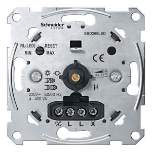 Светорегулятор поворотно-нажимного типа универсальный LED 4-400Вт Merten механизм