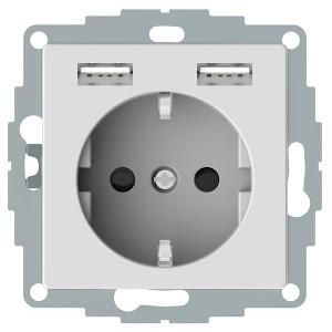 Розетка Schuko с 2 USB зарядными устройствами 2,4A тип А Merten System M активный белый