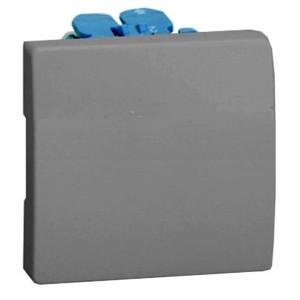Выключатель одноклавишный кнопочный 10А 250В широкий модуль Simon 27, серый