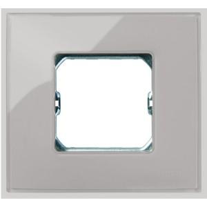 Рамка Simon 27 Neos 1 пост (+суппорт), глянец дымчатое стекло