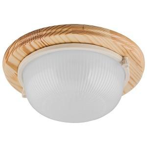 Светильник для бани термостойкий 130° на деревянной основе Клен, IP54 E27 круг НБО 03-60-011