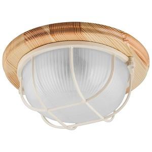 Светильник для бани термостойкий 130° на деревянной основе Клен, IP54 E27 круг решетка НБО 03-60-012