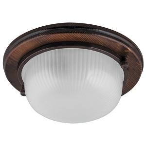 Светильник для бани термостойкий 130° на деревянной основе Орех, IP54 E27 круг НБО 03-60-021