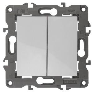 Выключатель двойной 10АХ-250В IP20 Эра Elegance белый 14-1104-01
