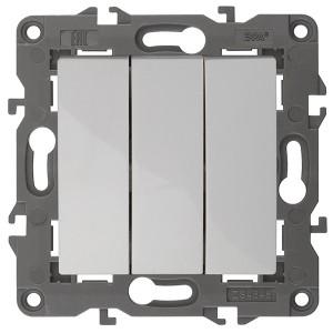 Выключатель тройной 10АХ-250В IP20 Эра Elegance белый 14-1107-01