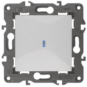 Выключатель с подсветкой 10АХ-250В IP20 Эра Elegance белый 14-1102-01