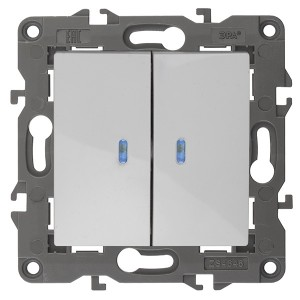 Выключатель двойной с подсветкой 10АХ-250В IP20 Эра Elegance белый 14-1105-01
