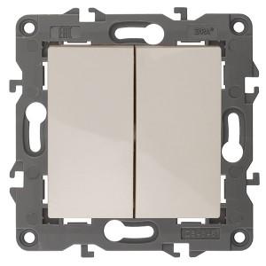 Выключатель двойной 10АХ-250В IP20 Эра Elegance слоновая кость 14-1104-02 (бежевый)
