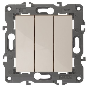 Выключатель тройной 10АХ-250В IP20 Эра Elegance слоновая кость 14-1107-02 (бежевый)