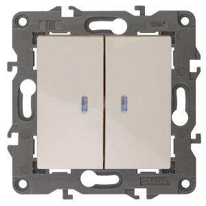 Выключатель двойной с подсветкой 10АХ-250В IP20 Эра Elegance слоновая кость 14-1105-02 (бежевый)