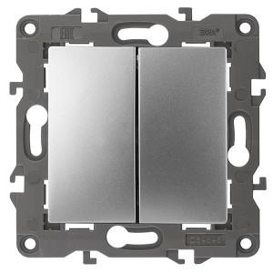 Выключатель двойной 10АХ-250В IP20 Эра Elegance алюминий 14-1104-03