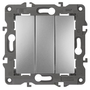 Выключатель тройной 10АХ-250В IP20 Эра Elegance алюминий 14-1107-03