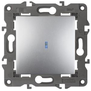 Выключатель с подсветкой 10АХ-250В IP20 Эра Elegance алюминий 14-1102-03