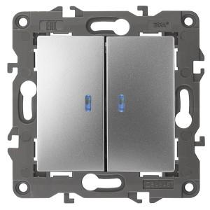 Выключатель двойной с подсветкой 10АХ-250В IP20 Эра Elegance алюминий 14-1105-03