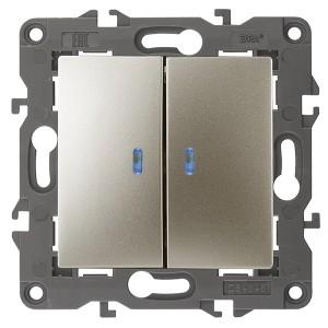 Выключатель двойной с подсветкой 10АХ-250В IP20 Эра Elegance шампань 14-1105-04