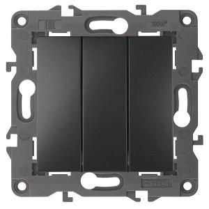 Выключатель тройной 10АХ-250В IP20 Эра Elegance антрацит 14-1107-05