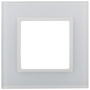 Рамка на 1 пост стекло Эра Elegance белый+белый 14-5101-01