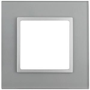 Рамка на 1 пост стекло Эра Elegance алюминий+алюминий 14-5101-03