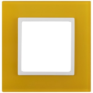 Рамка на 1 пост стекло Эра Elegance жёлтый+белый 14-5101-21