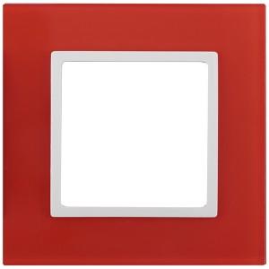 Рамка на 1 пост стекло Эра Elegance красный+белый 14-5101-23
