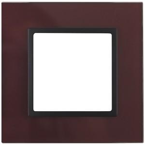 Рамка на 1 пост стекло Эра Elegance бордо+антрацит 14-5101-25