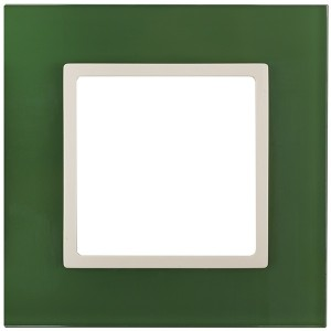 Рамка на 1 пост стекло Эра Elegance зелёный+слоновая кость 14-5101-27 (бежевый)