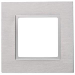 Рамка на 1 пост металл Эра Elegance алюминий+алюминий 14-5201-03