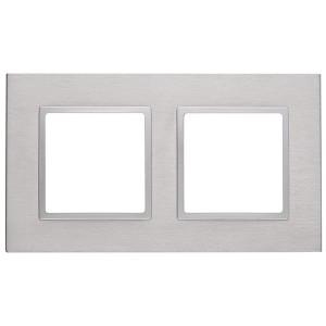 Рамка на 2 поста металл Эра Elegance алюминий+алюминий 14-5202-03