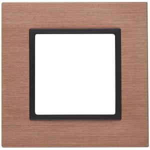 Рамка на 1 пост металл Эра Elegance медь+антрацит 14-5201-14
