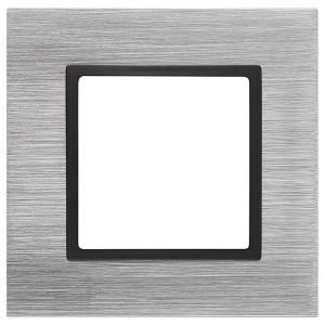 Рамка на 1 пост металл Эра Elegance сталь+антрацит 14-5201-41