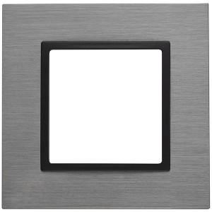 Рамка на 1 пост металл Эра Elegance титан+антрацит 14-5201-42