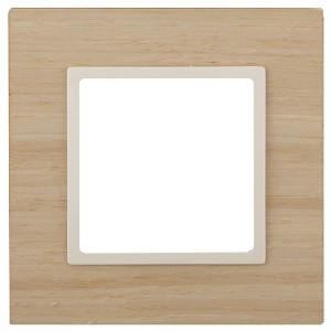 Рамка на 1 пост дерево Эра Elegance клён+слоновая кость 14-5301-11 (бежевый)