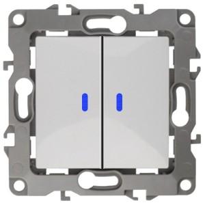 Выключатель двойной с подсветкой 10АХ-250В IP20 Эра 12, белый 12-1105-01