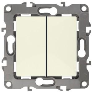 Выключатель двойной 10АХ-250В IP20 без лапок Эра 12, слоновая  12-1004-02к