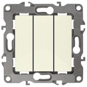 Выключатель тройной 10АХ-250В IP20 Эра 12, слоновая кость 12-1107-02 (бежевый)