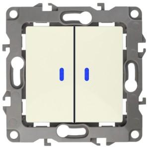 Выключатель двойной с подсветкой 10АХ-250В IP20 Эра 12, слоновая  12-1105-02к